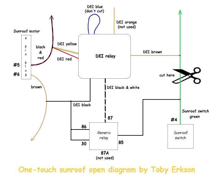 dei_wiring_diagram one touch sunroof open (dei timer relay) installation instructions 528t pulse timer wiring diagram at honlapkeszites.co