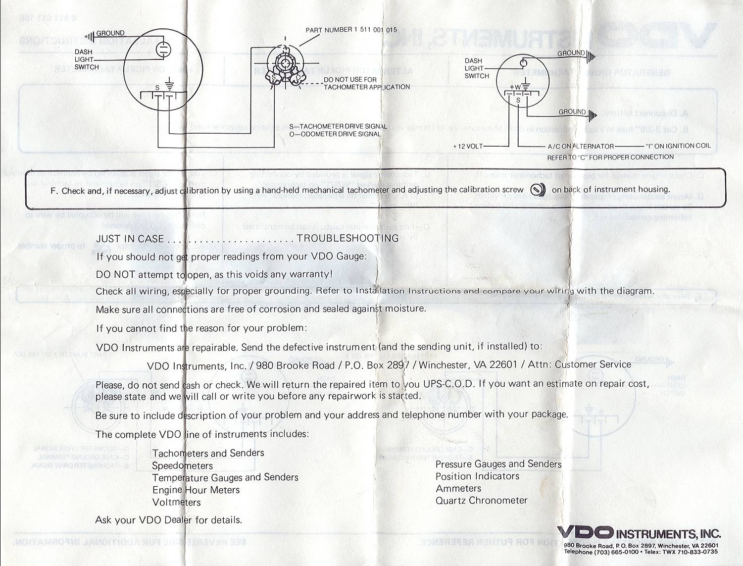 Type 3 Tuning Page Electrical Vdo Wiring Instructions Tachometer 1 2
